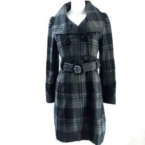 Guess | Plaid Wool Long Peacoat Coat Jacket size S